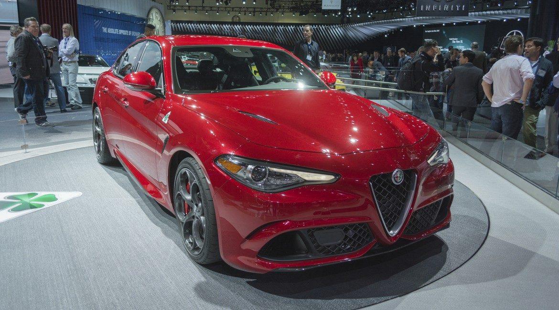 Los Angeles, USA - November 18, 2015: Alfa Romeo Giulia on display during the 2015 Los Angeles Auto Show.