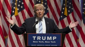 New York, NY USA - July 16, 2016: Donald Trump speaks during introduction Governor Mike Pence as running for vice president at Hilton hotel Midtown Manhattan