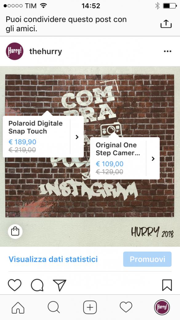 Lo Shopping Hurry! arriva anche su Instagram