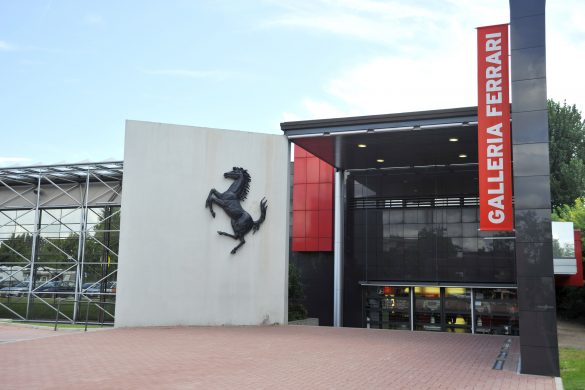 Maranello, Modena, Italy - August 16, 2010: the entrance of the Galleria Ferrari in Maranello.